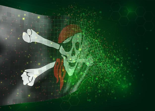 Bandiera a maglie vettoriali 3d di un teschio pirata su sfondo nero con poligoni e numeri di dati
