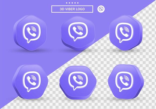 Icona 3d viber in cornice in stile moderno e poligono per i loghi delle icone dei social media