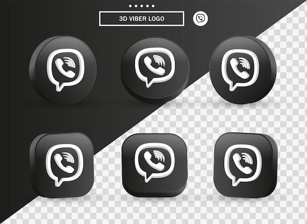 Icona del logo 3d viber nel moderno cerchio nero e quadrato per i loghi delle icone dei social media