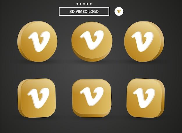 Icona del logo vimeo 3d nel moderno cerchio dorato e quadrato per i loghi delle icone dei social media