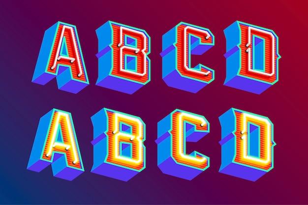 Lettere vintage 3d con luci al neon fluorescenti e modalità interruttore on / off