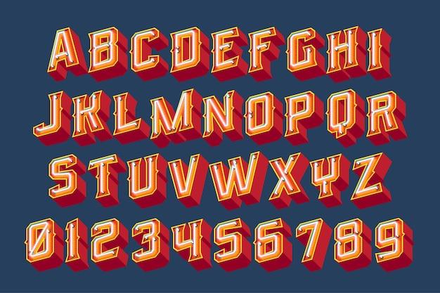 Lettere vintage 3d con luci al neon