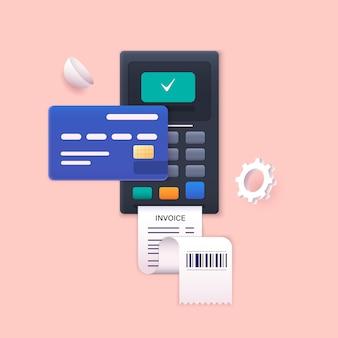 Illustrazioni web 3d pagamento senza contatto concetto di terminale di pagamento per la comunicazione sul campo vicino