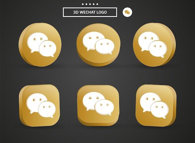 Icona del logo 3d wechat nel moderno cerchio dorato e quadrato per i loghi delle icone dei social media
