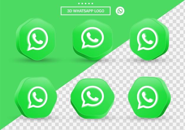 Icona 3d whatsapp in cornice in stile moderno e poligono per i loghi delle icone dei social media