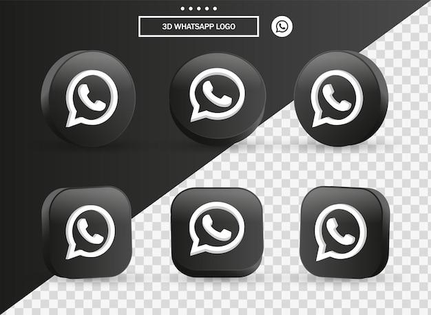 Icona del logo whatsapp 3d nel moderno cerchio nero e quadrato per i loghi delle icone dei social media