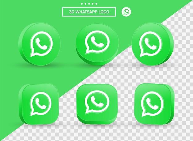 Logo 3d whatsapp in stile moderno cerchio e quadrato per i loghi delle icone dei social media