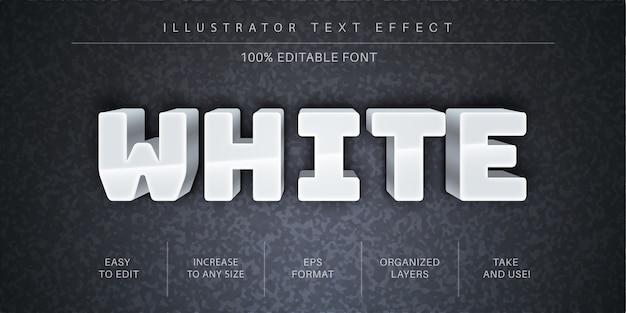 Effetto di testo modificabile bianco 3d, stile carattere
