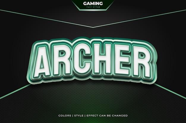 Stile di testo 3d bianco e verde con effetti in rilievo e curvi