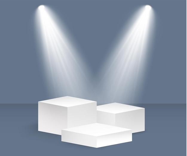 Podio bianco 3d piedistallo realistico e platform.threestepped stand con illustrazione di faretti