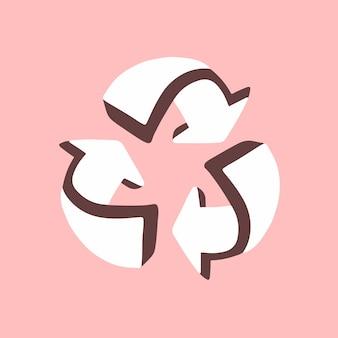 Simbolo dell'icona delle frecce di riciclaggio bianco 3d su fondo rosa piatto vector illustration