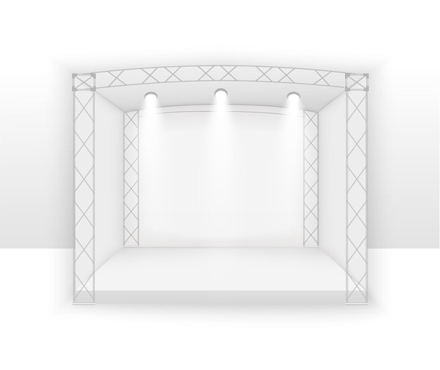Palco bianco 3d, scena del concerto sul podio, spettacolo di spettacoli, sfondo con schermo a led, faretti.