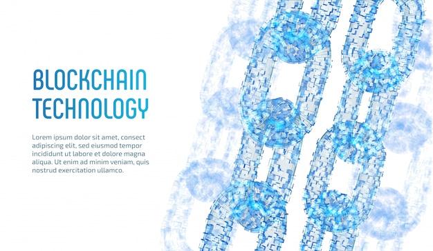 Catena wireframe 3d con blocchi digitali. concetto di blockchain.