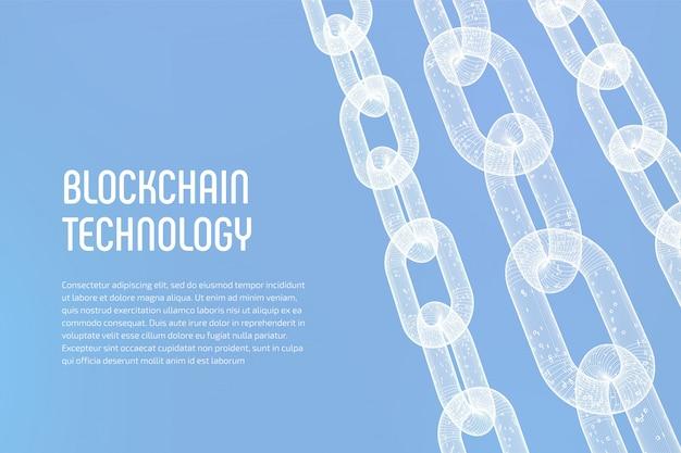 Catena wireframe 3d con codice digitale. blockchain