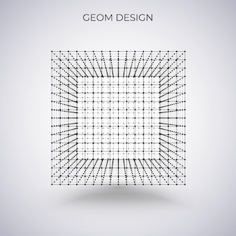 Cubo wireframe 3d. illustrazione vettoriale. illustrazione astratta di tecnologia.