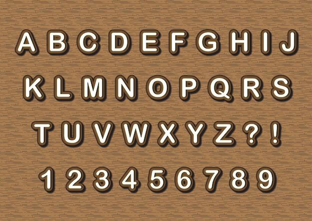 Set di numeri di alfabeti in stile in legno 3d