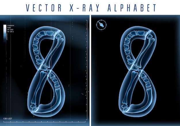 Uso di alfabeto trasparente ai raggi x 3d nel logo o nel testo. numero otto 8