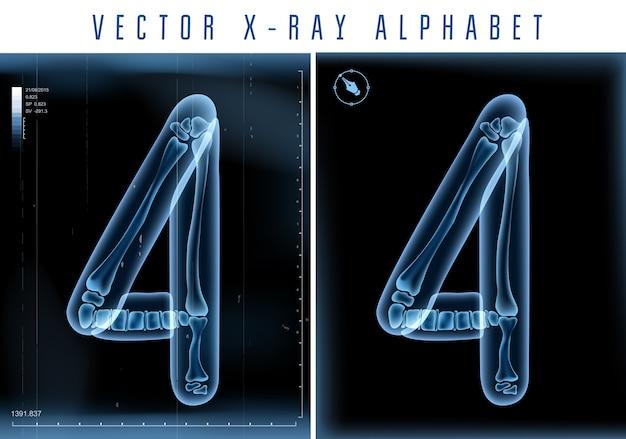 Uso di alfabeto trasparente ai raggi x 3d nel logo o nel testo. numero quattro 4