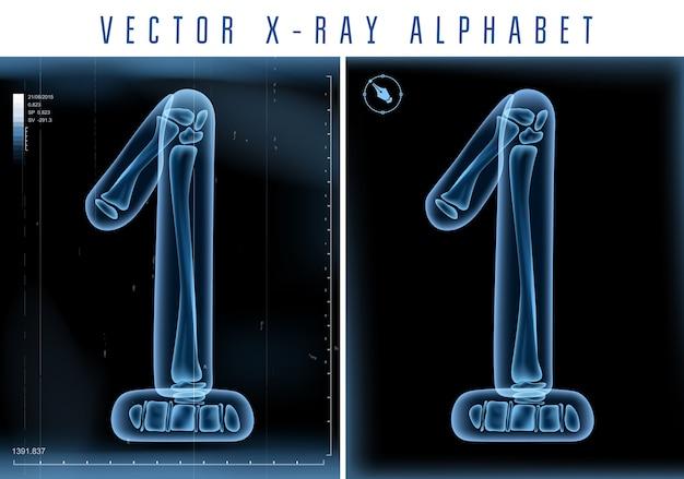 Uso di alfabeto trasparente ai raggi x 3d nel logo o nel testo. numero uno 1
