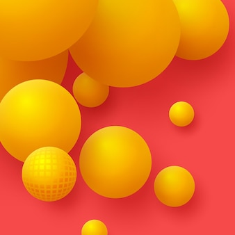 3d palline gialle su sfondo rosso. sfondo astratto sfere galleggianti.