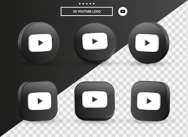 Icona del logo di youtube 3d nel moderno cerchio nero e quadrato per i loghi delle icone dei social media