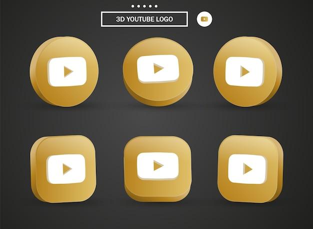 Icona del logo di youtube 3d nel moderno cerchio dorato e quadrato per i loghi delle icone dei social media