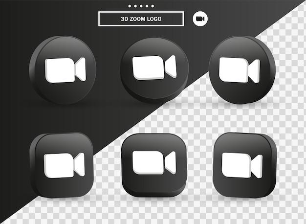 Icona del logo della riunione zoom 3d nel moderno cerchio nero e quadrato per i loghi delle icone dei social media