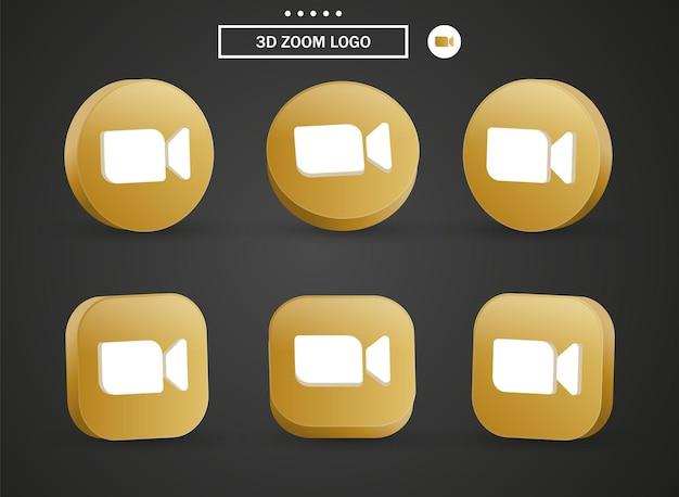 Icona del logo della riunione zoom 3d nel moderno cerchio dorato e quadrato per i loghi delle icone dei social media