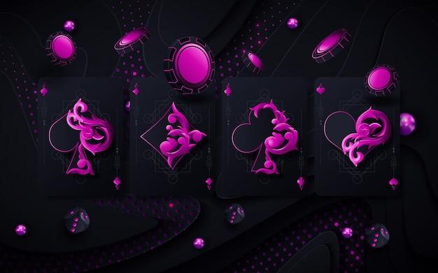 4 assi carte concetto di gioco isolato