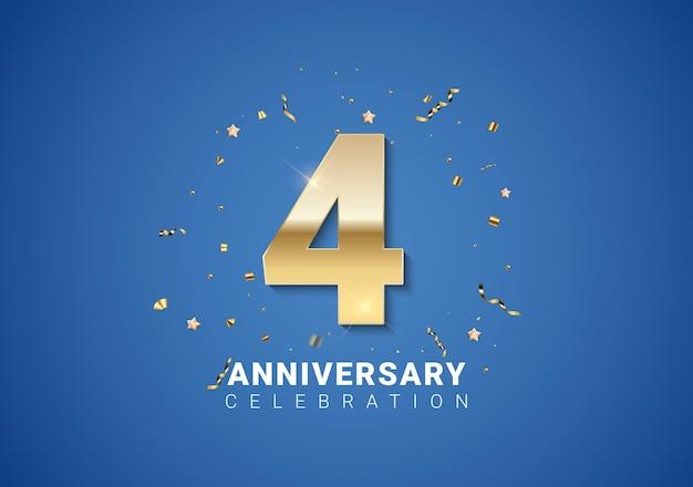 Sfondo 4 anniversario con numeri dorati, coriandoli, stelle su sfondo blu brillante. illustrazione vettoriale eps10