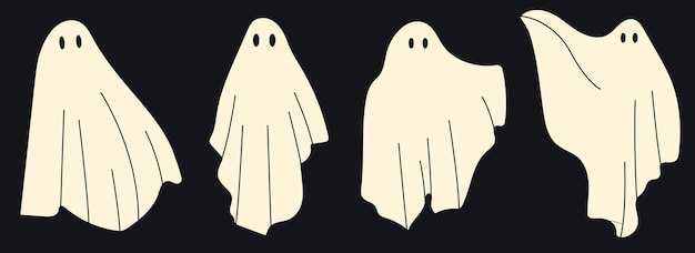 4 simpatici personaggi fantasma. spettrale fantasmi di halloween