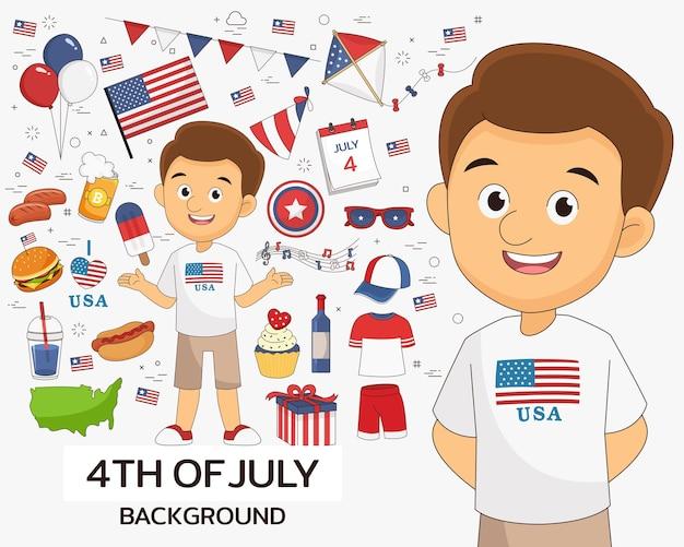 4 del concetto di luglio. icone piatte.