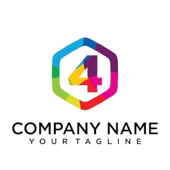 Elemento del modello di disegno esagonale dell'icona del logo di 4 lettere