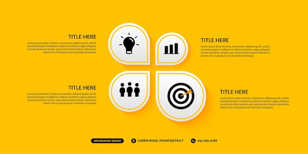 Modello di infografica a 4 opzioni su sfondo giallo, flusso di lavoro aziendale con concetto di più passaggi