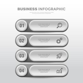 Modello di infografica aziendale moderno argento morbido a 4 punti