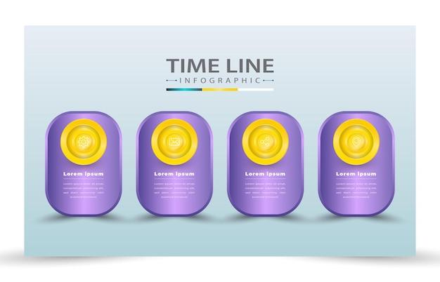4 stili di modello di infografica con linea temporale realistica