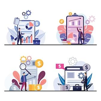 4 scene: raggruppa insiemi di affari e transazioni con grafici che mostrano i risultati operativi su monitor e schermi di computer. illustrazione di design piatto del concetto di affari