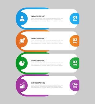 Modello di infografica aziendale piatta in 4 passaggi