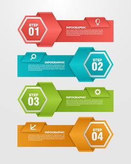 Modello di infografica gradiente in metallo a 4 fasi