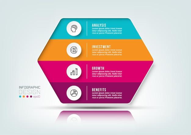 Modello di infografica del flusso di lavoro in 4 fasi