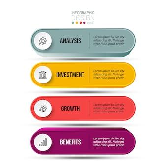 Modello di infografica del flusso di lavoro del processo in 4 fasi