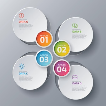 Modello di progettazione infografica aziendale in 4 passaggi con grafico ciclo colorato quattro opzioni e icone