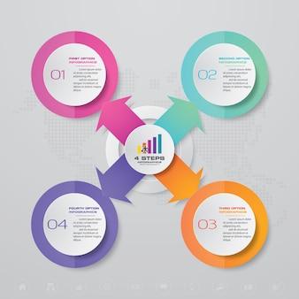 Elementi infografica grafico a 4 passaggi.