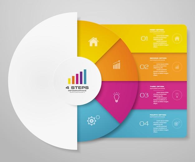 Elementi di infographics del grafico a ciclo di 4 passaggi per la presentazione dei dati.
