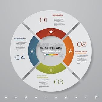 Elementi di infografica grafico ciclo 4 passaggi.