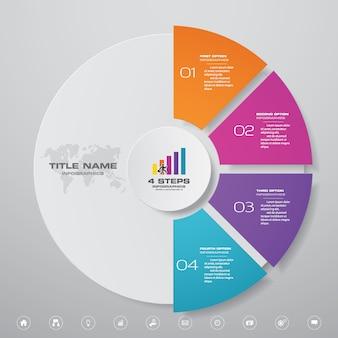 Elementi di infografica grafico ciclo 4 passaggi