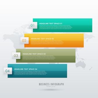 Progettazione infografica a quattro fasi per i diagrammi di presentazione e flusso di lavoro