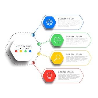 Modello di infografica 4 passi con realistici elementi esagonali su sfondo bianco. diagramma di processo aziendale. modello di diapositiva di presentazione dell'azienda. progettazione grafica moderna del layout di informazioni.