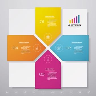 Elemento di design grafico infografica 4 passaggi. per la presentazione dei dati.