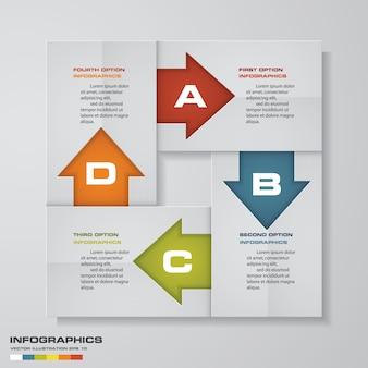 Diagramma di elemento infografica 4 passaggi per la presentazione.